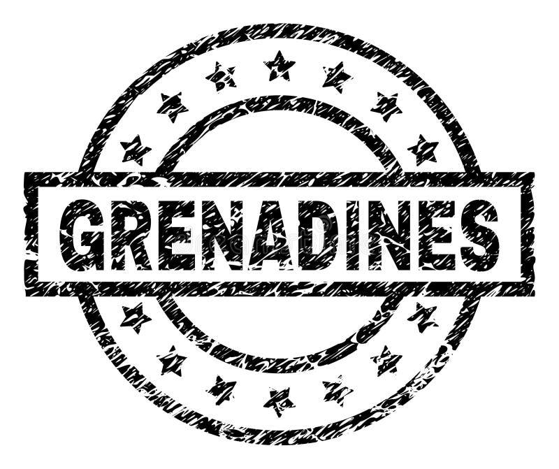 Grunge texturerade GRANATÄPPELSAFTER stämplar skyddsremsan vektor illustrationer