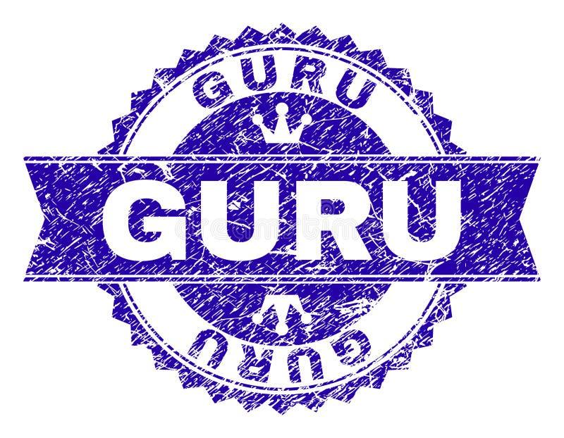 Grunge texturerade GURU Stamp Seal med bandet vektor illustrationer