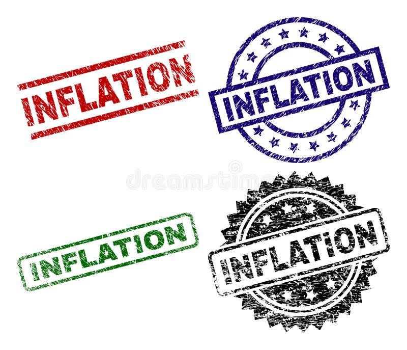 Grunge texturerade INFLATIONstämpelskyddsremsor royaltyfri illustrationer