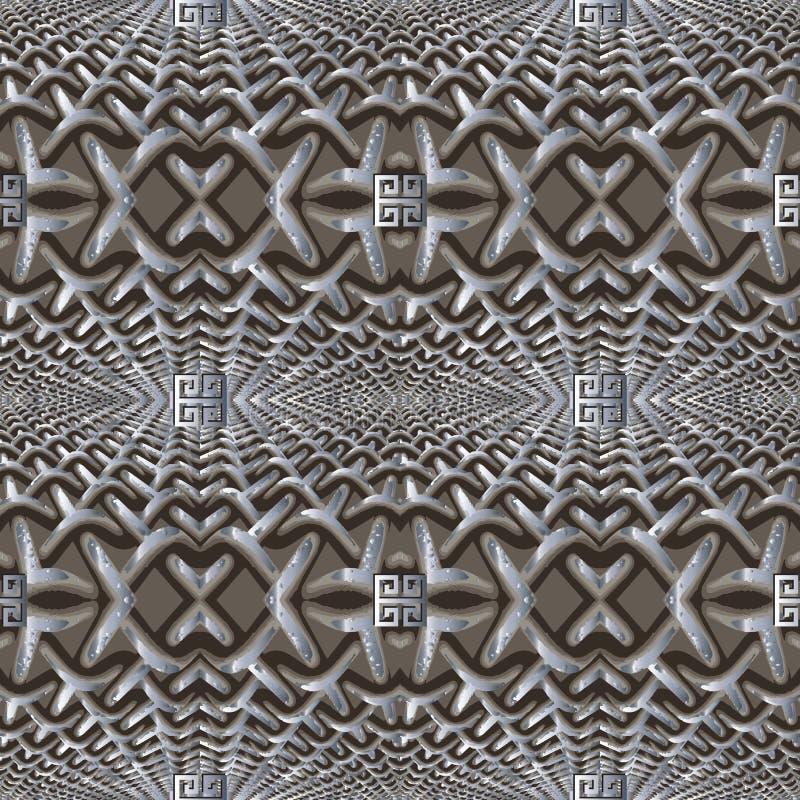Grunge texturerade modellen för vektorn för rastret 3d den sömlösa Ytbehandla dekorativ modern bakgrund för galler Grungy prydnad vektor illustrationer