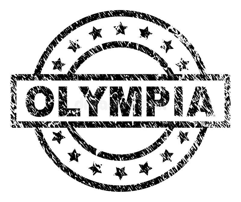 Grunge texturerade OLYMPIA Stamp Seal royaltyfri illustrationer