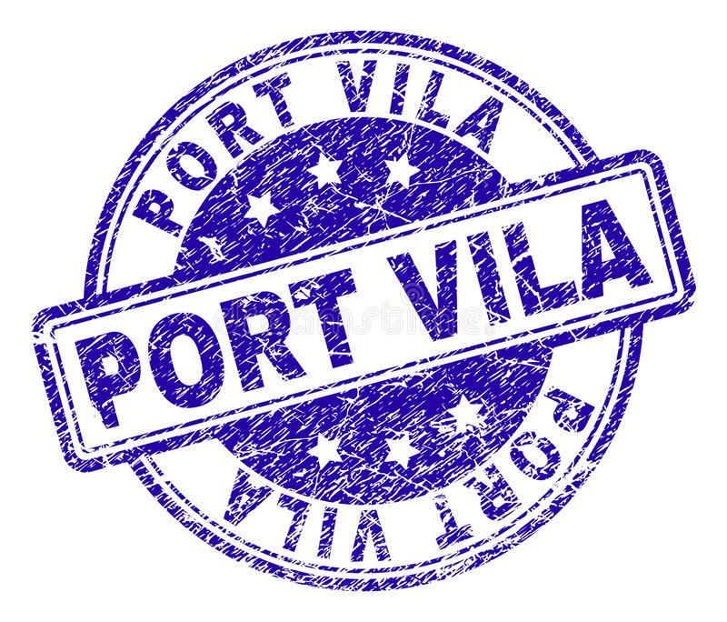 Grunge texturerade PORT VILA Stamp Seal royaltyfri illustrationer