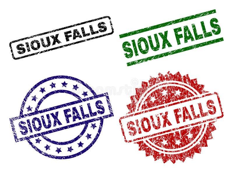 Grunge texturerade SIOUX FALLS stämpelskyddsremsor royaltyfri illustrationer