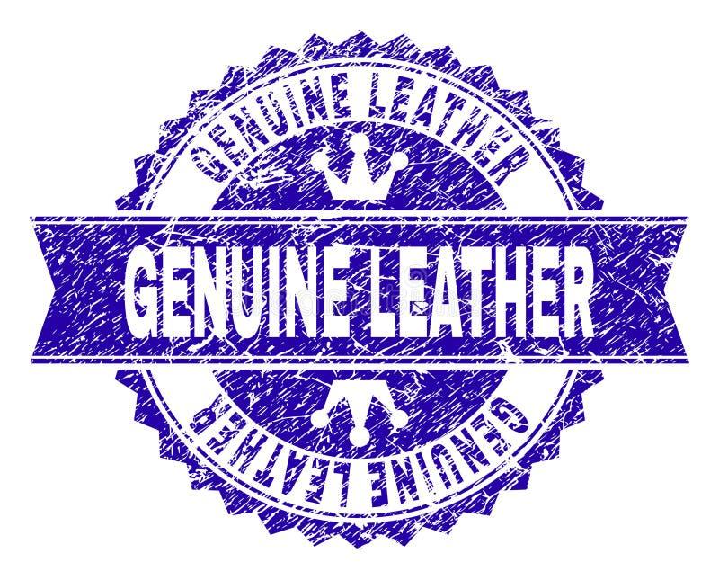 Grunge texturerade stämpelskyddsremsan för ÄKTT LÄDER med bandet royaltyfri illustrationer