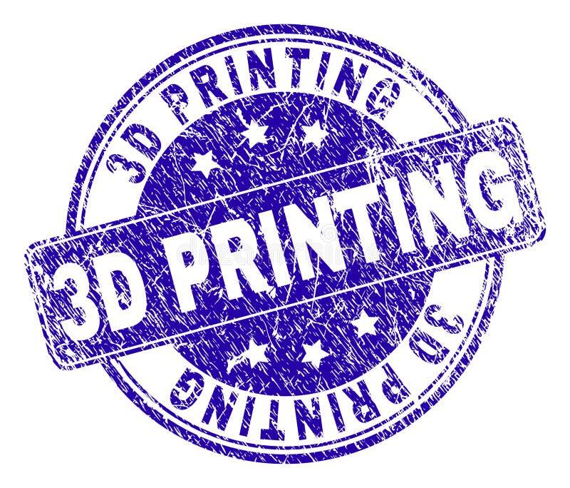 Grunge texturerade stämpelskyddsremsan för PRINTING 3D stock illustrationer