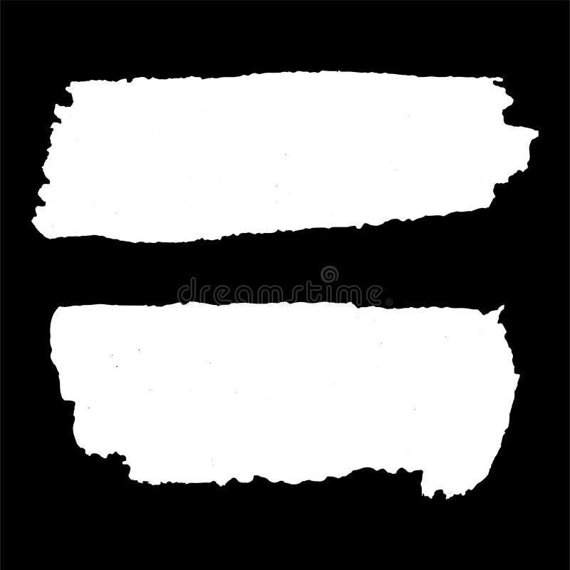 Grunge textures set. White horizontal brush on black. Vector . Grunge textures set. White horizontal brush on black. Vector template. Urban Background. Dust stock illustration