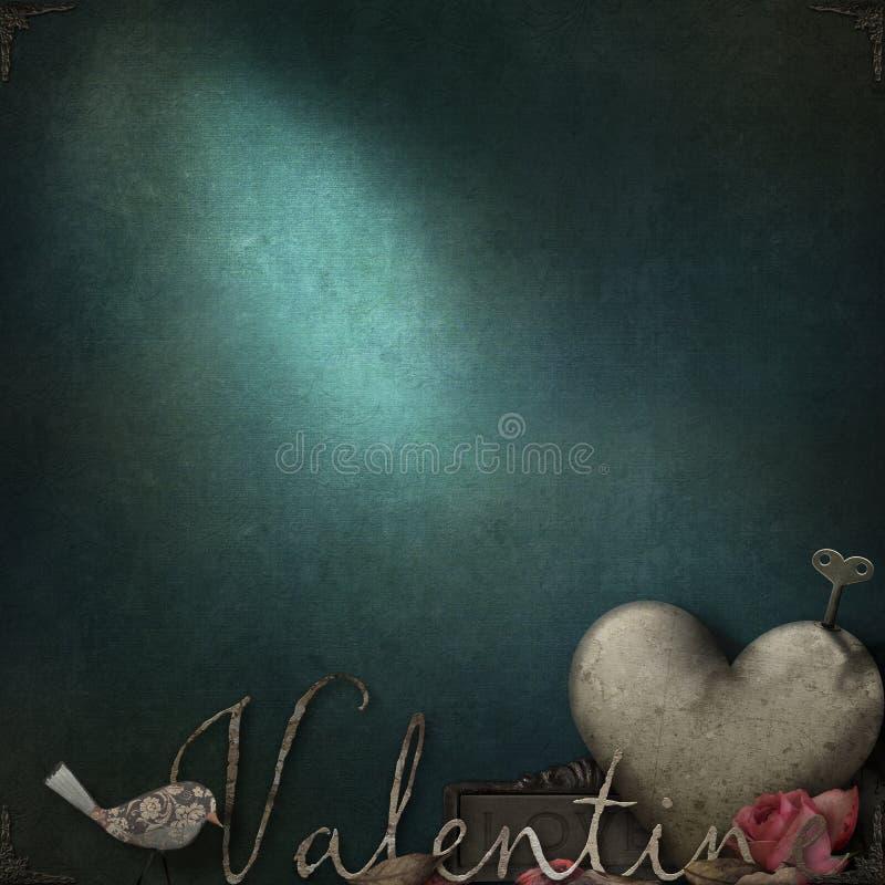 Grunge textuur met romantische thematische elementen voor Valentine royalty-vrije stock foto's