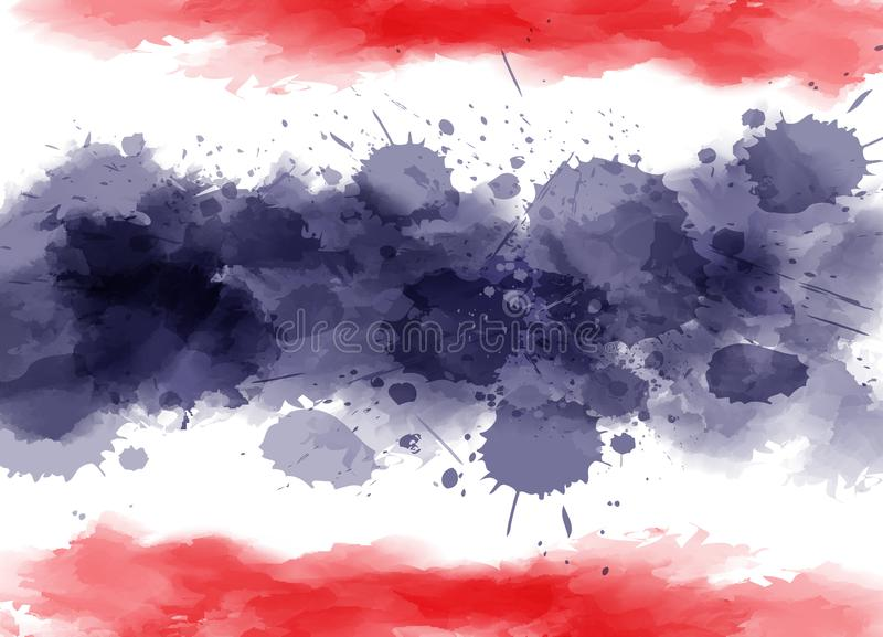 Watercolor splashes Thailand flag royalty free illustration