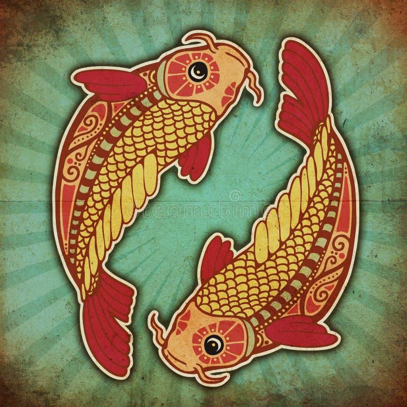 Grunge Tierkreis - Fische stock abbildung