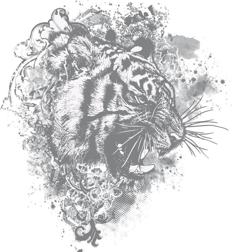 Free Grunge Tiger Floral Illustration Stock Photos - 10912393
