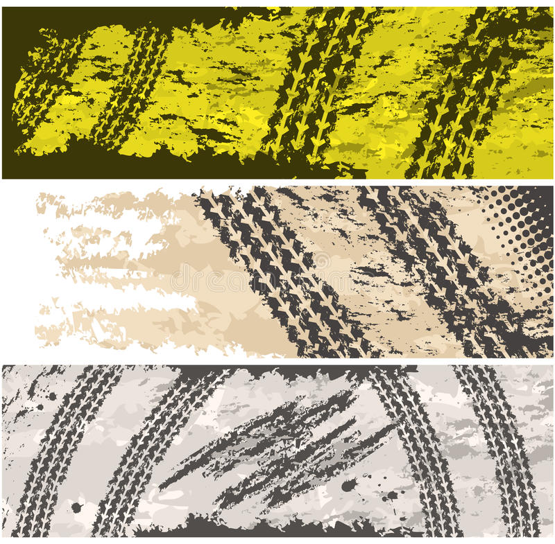 Grunge Tire Tracks Banners Stock Image
