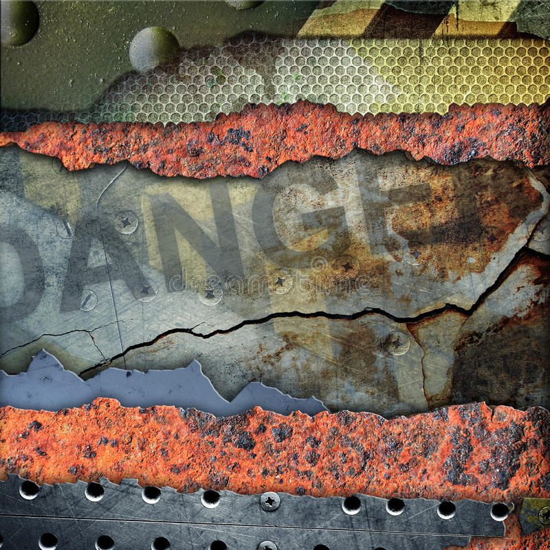 Grunge torn metal plate stock illustration