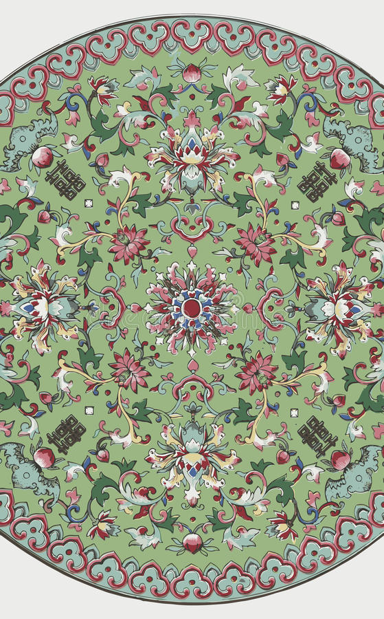 Grunge traditional Chinese floral ornament royalty free stock photography