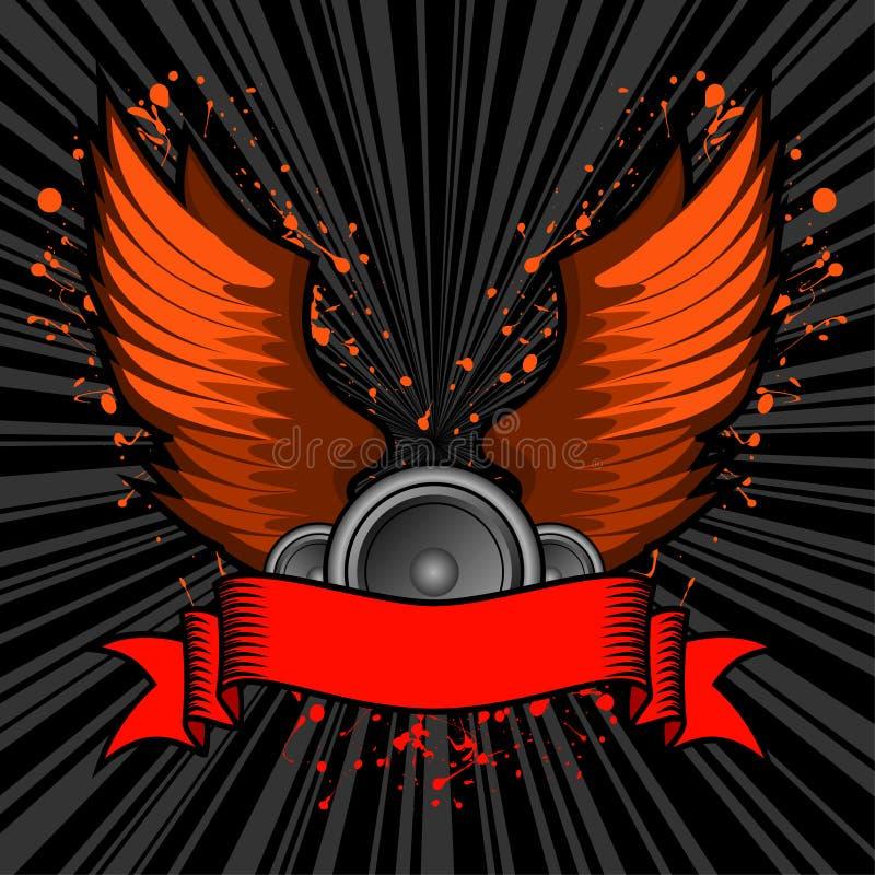 Grunge traversa la bandiera volando del testo royalty illustrazione gratis