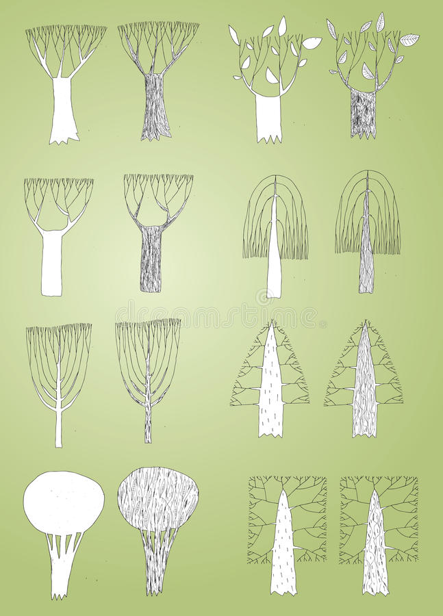 Grunge Trees Collection In Black And White, With Outlines Royalty Free Stock Images