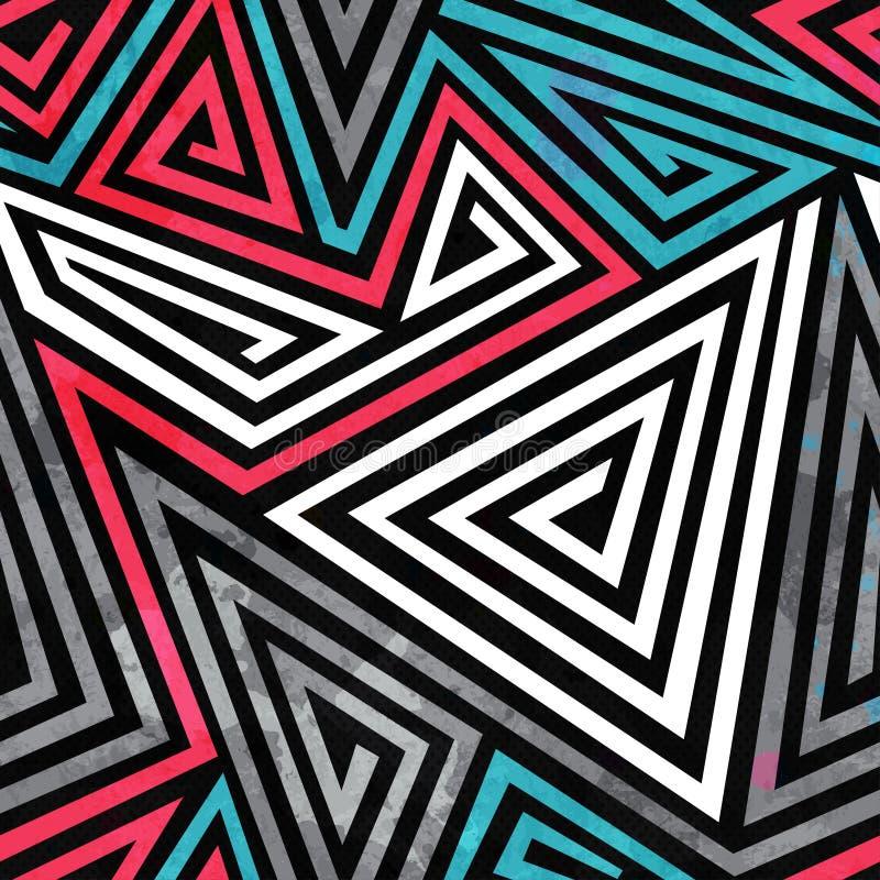 Grunge triangle spirals seamless pattern. (eps 10 royalty free illustration