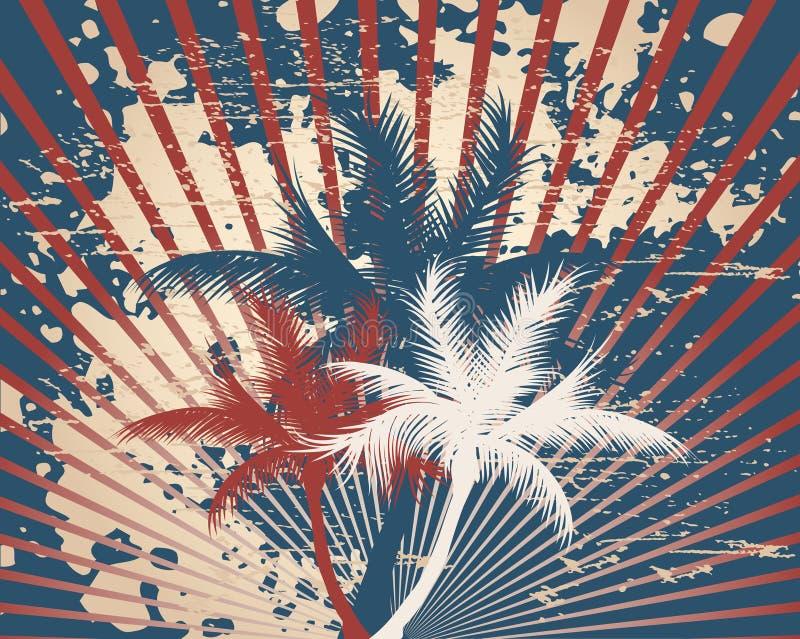 Grunge tropical referente à cultura norte-americana retro ilustração stock