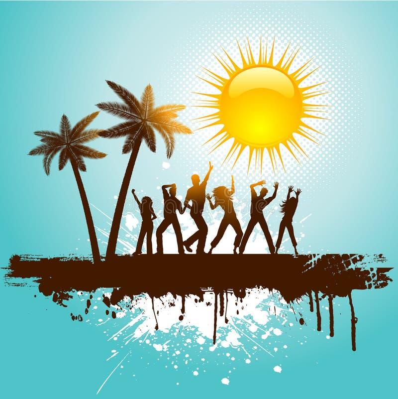 Party Island Beach: Grunge Tropischer Partyhintergrund Vektor Abbildung