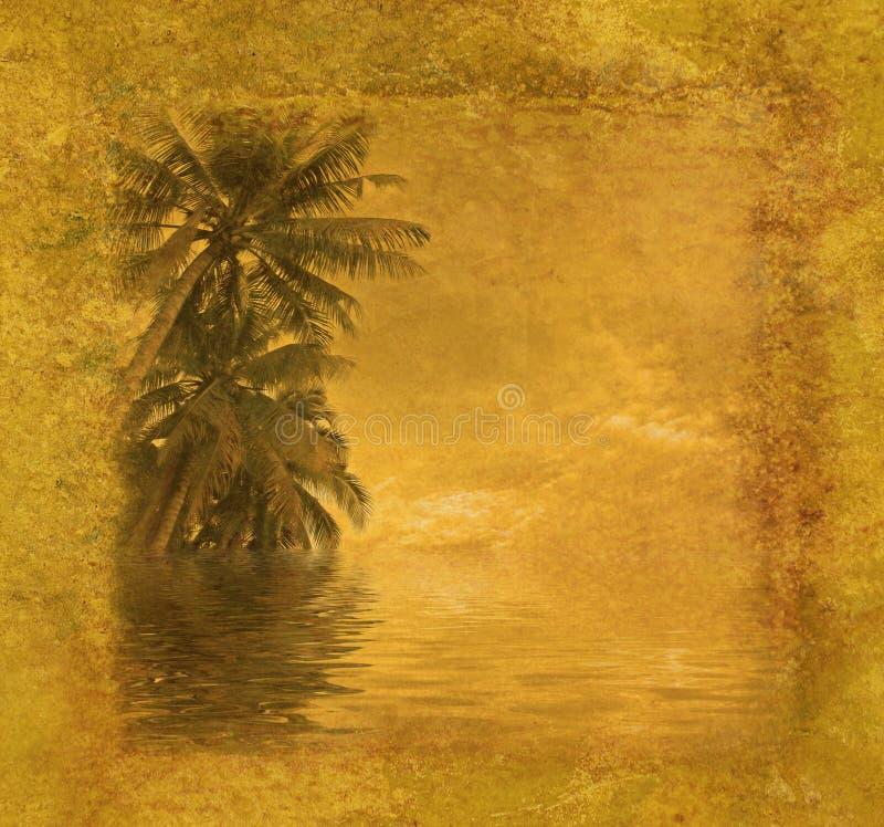 Grunge tropisk ram stock illustrationer