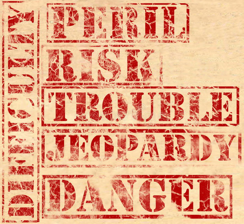 Grunge - Trouble. Trouble words printed in red ink on parchment. Peril, risk, jeopardy, danger and difficulty. Each word can be used as a separate element royalty free illustration