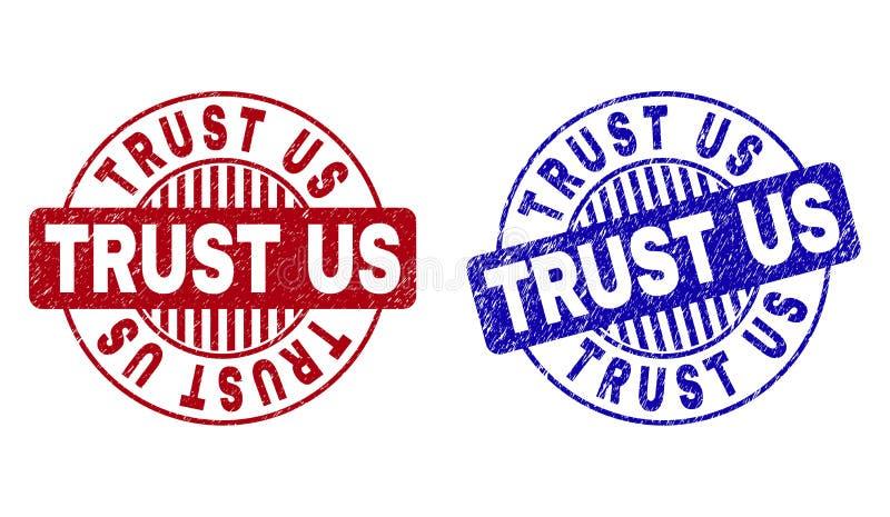 Grunge TRUST US Textured Round Stamps royalty free illustration