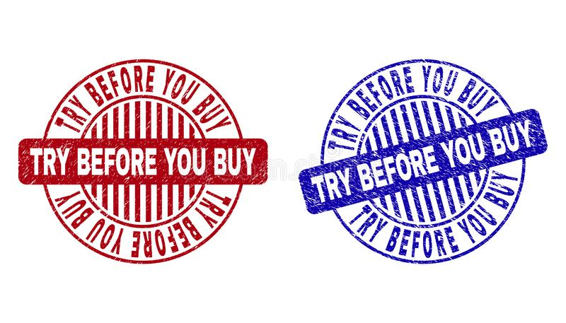 Grunge TRY BEFORE YOU BUY Scratched Round Stamp Seals. Grunge TRY BEFORE YOU BUY round stamp seals isolated on a white background. Round seals with grunge vector illustration