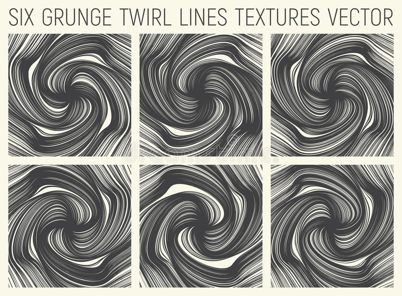 6 Grunge Twirl Lines Textures Vector. Set of Six Grunge Hand Drawn Decorative Twirl Lines Textures Vector Abstract Background stock illustration
