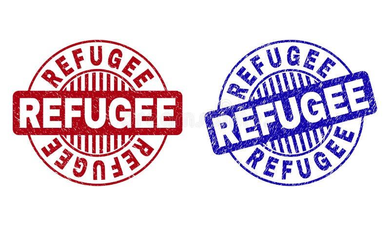 Grunge uchodźca Drapający Wokoło Stemplowych fok royalty ilustracja