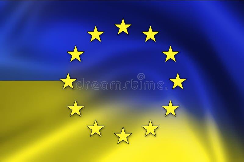 Grunge UE i Ukraina flaga royalty ilustracja