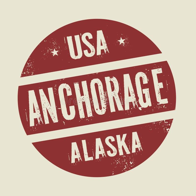 Grunge uitstekende ronde zegel met tekst Anchorage, Alaska stock illustratie