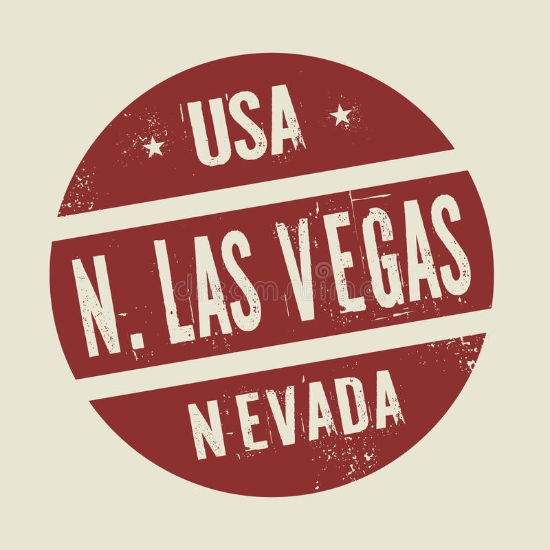 Grunge uitstekende ronde zegel met tekst Noord-Las Vegas, Nevada stock illustratie