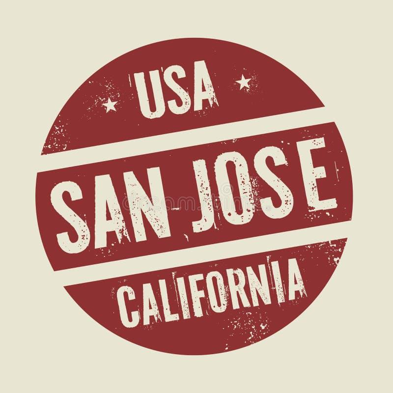 Grunge uitstekende ronde zegel met tekst San Jose, Californië stock illustratie