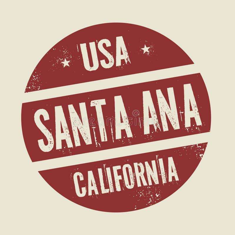 Grunge uitstekende ronde zegel met tekst Santa Ana, Californië royalty-vrije illustratie