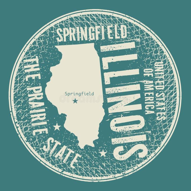 Grunge uitstekende ronde zegel met tekst Springfield, Illinois vector illustratie