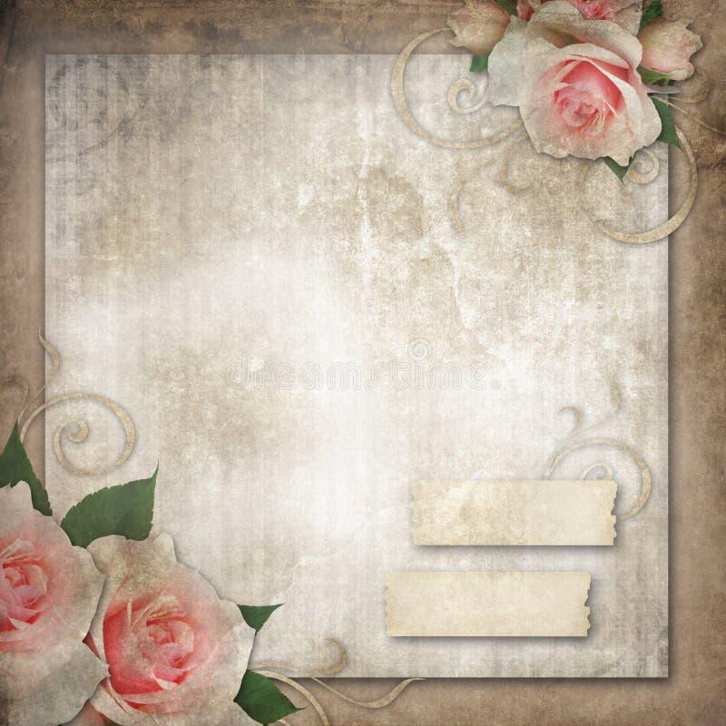 Grunge, uitstekende rozen als achtergrond stock illustratie