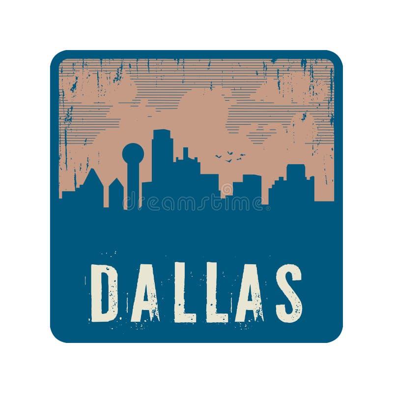 Grunge uitstekende zegel met tekst Dallas stock illustratie