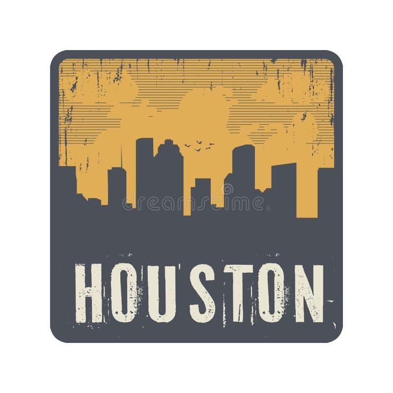 Grunge uitstekende zegel met tekst Houston stock illustratie