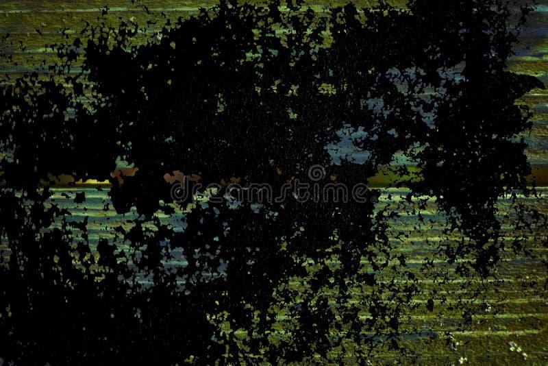 Grunge ultra oranje Textuur van oude, sjofele, groene verf op een oude houten bank met schaduw royalty-vrije stock foto's