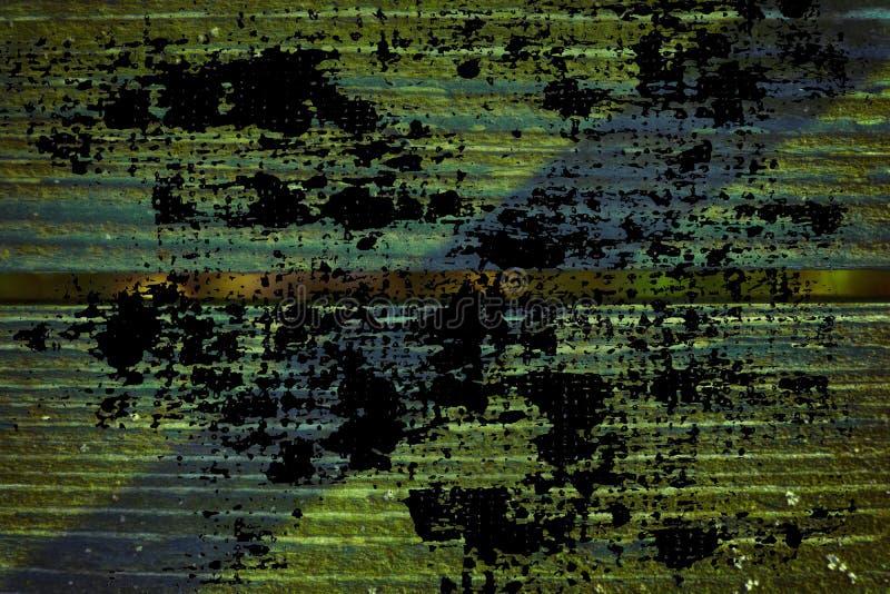 Grunge ultra oranje Textuur van oude, sjofele, groene verf op een oude houten bank met schaduw royalty-vrije stock foto