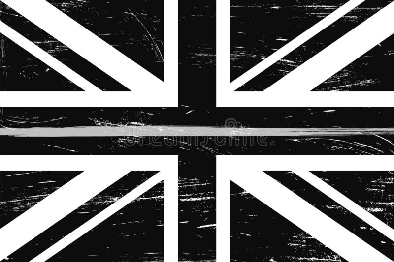 Grunge United Kingdom flag with a thin gray or silver line royalty free illustration