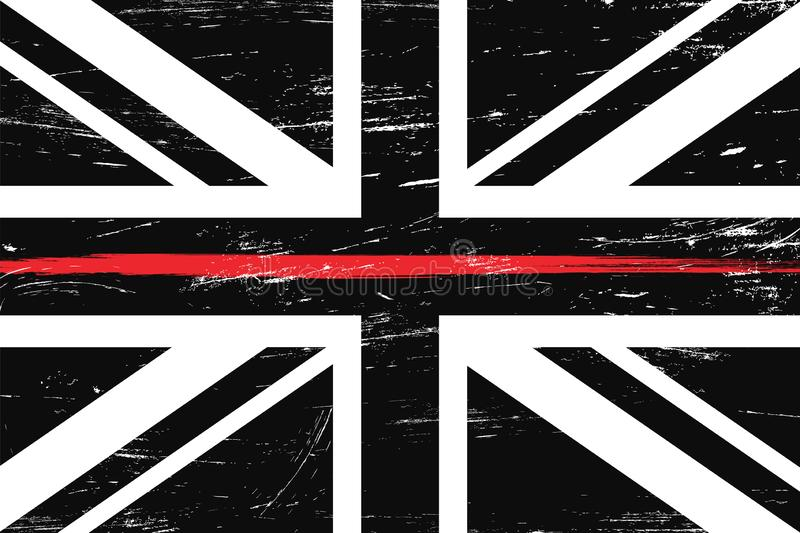 Grunge United Kingdom flag with a thin red line stock illustration