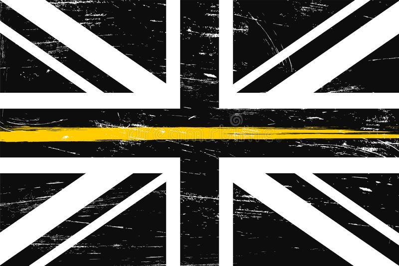 Grunge United Kingdom flag with a thin yellow Line vector illustration