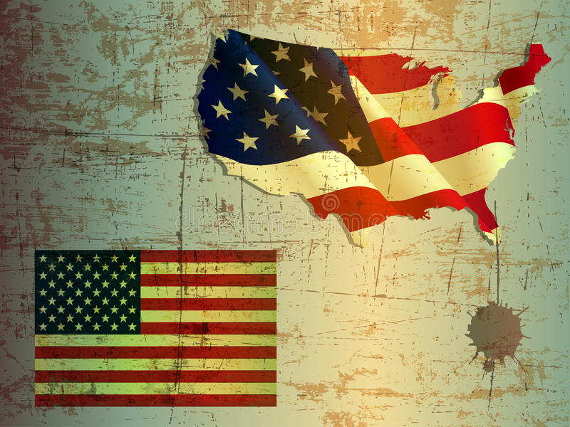 Grunge of United States and vintage American flag