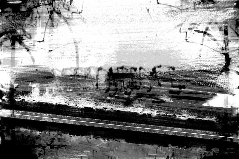 Grunge Urban Scene. Background abstract urban graffiti scene in black and white stock illustration