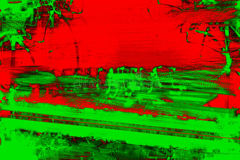 Grunge Urban Scene. Background abstract urban graffiti scene in Christmas colors of red and green stock illustration