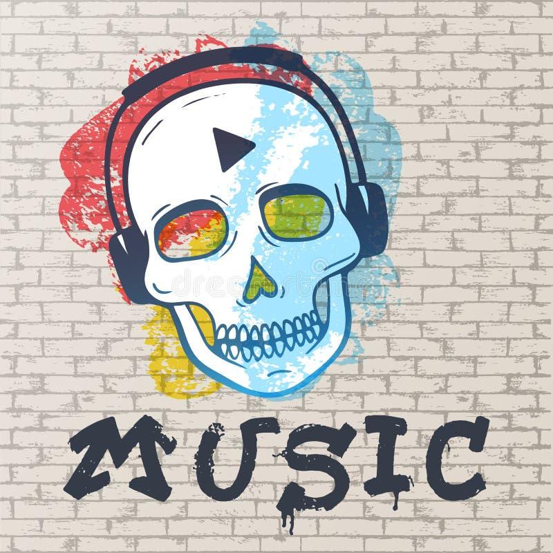Grunge urbano pintura denominada da rua Fundo abstrato, parede de tijolo pintada com os pontos de cores diferentes, um scull ilustração stock