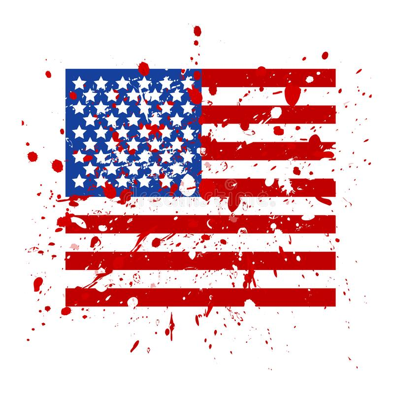 Grunge USA flag. American flag with grunge texture. Vector flag of USA royalty free illustration