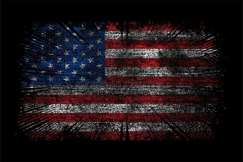 Grunge Usa Flag Black White Wallpaper Background Stock Vector
