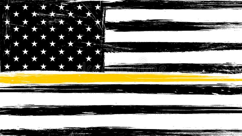 Grunge USA flag with a thin yellow or gold line. A sign to honor and respect American Dispatchers, Security Guards and Loss Prevention vector illustration