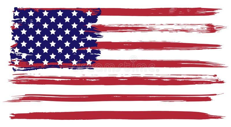 Grunge usa flaga ilustracja wektor